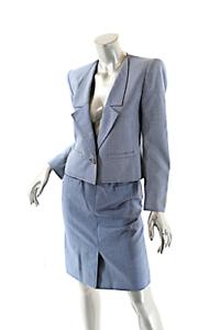 Vallenntino Boutique årgång blå and vit Houndstooth Wool kjol Suit US 6 NICE
