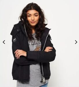 Wind Sherpa Forward Superdry Hood Women Jacket Fur Black qHxHXS7w
