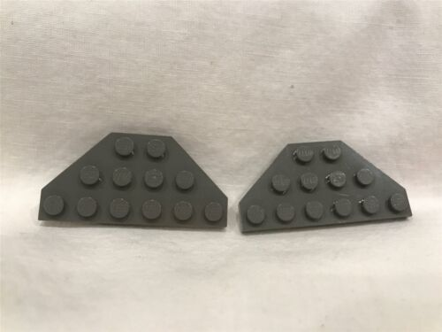 2 LEGO Parts~ Plate 3 x 6 Cut Corners 2419 DK GRAY old Wedge