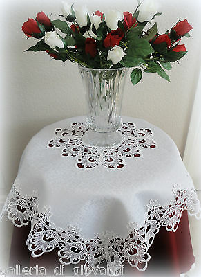 "Table Topper DECADENT WHITE 34"" Sq Lace Tablecloth Doily"