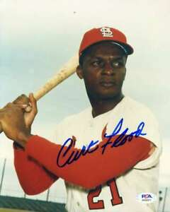 Curt-Flood-PSA-DNA-Coa-Hand-Signed-8x10-Cardinals-Photo-Autograph