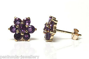 9ct-Gold-Amethyst-cluster-Studs-earrings-Gift-Boxed-Made-in-UK-Christmas-present