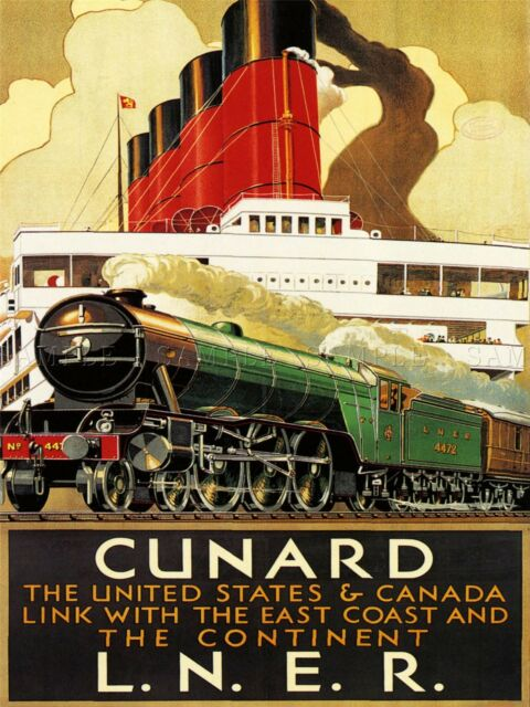 POSTER CUNARD LINE STEAM BOAT EUROPE AMERICA SHIP TRAVEL VINTAGE REPRO FREE S//H