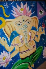 Lotus OM Ganesh Occult Mushroom Meditation Yoga Signed ORIGINAL CANVAS PAINTING