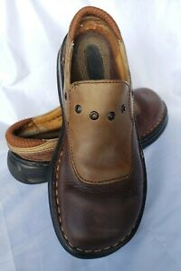 born jmog brown leather mules clogs slip on low casual