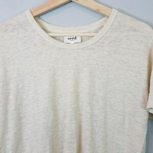 SEED-HERITAGE-Womens-Round-Neck-Linen-Tee-Top-Size-XXS-or-AU-6