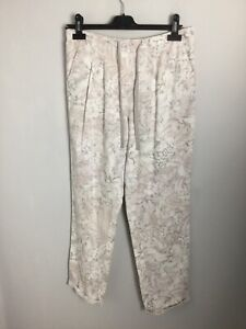 M-amp-S-Collection-White-amp-Beige-Floral-Linen-Trousers-Size-12UK-Ex-cond
