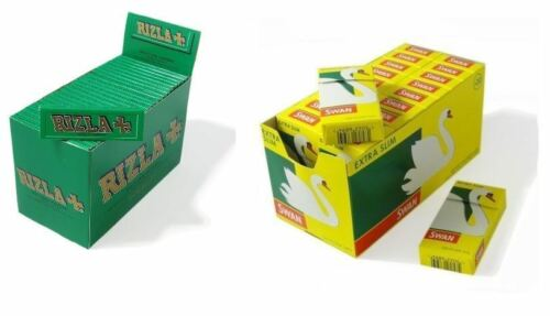 600 RIZLA GREEN ROLLING PAPERS /& 600 SWAN EXTRA SLIM FILTER TIPS ORIGINAL