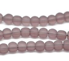 50 x Mauve Frosted / Matt Glass Craft Jewellery Beads - 6mm - L11534