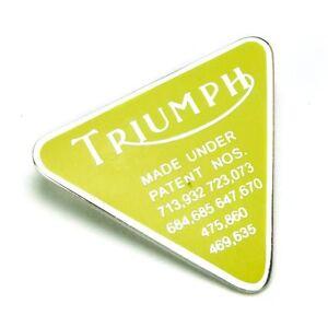 TRIUMPH-YELLOW-PIN-BADGE-PATENT-LOGO-BONNEVILLE-T120-T140-WW42047-GENUINE-GOMM