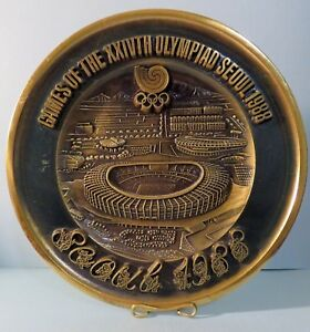 VINTAGE-HEAVY-BRONZE-SEOUL-KOREA-OLYMPICS-WALL-PLAQUE-1988-OLYMPIAD-GAMES