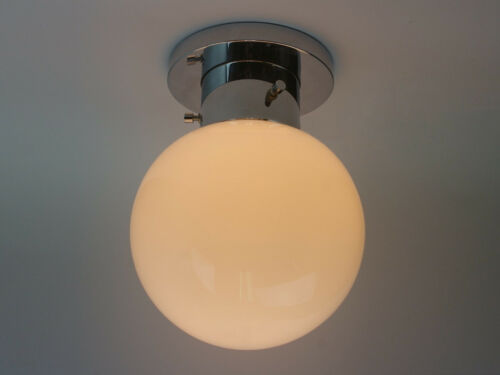 "Pretty vtg chrome 7.9/"" white glass globe Ceiling- or Wall Lights 1 of 5"
