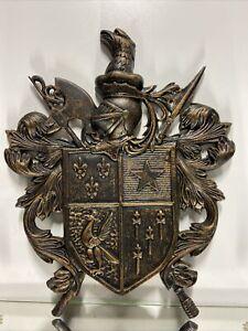 VTG. Metal Coat Of Arms Crest Shield Wall Art Decor Hanging Sculpture