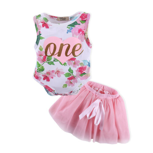 2Pcs Clothing Girl Outfits 1st Birthday Romper Top Sleeveless Floral Tutu Skirts