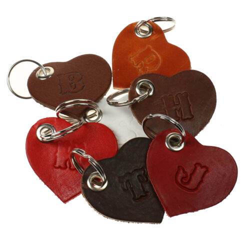 100/% Strong New Handmade Letter Embossed Heart Leather Keyrings Made In England