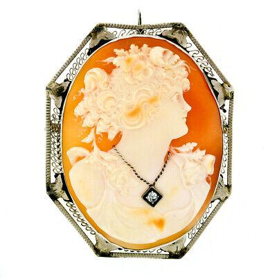 Art Deco Solid 0.06ct 14k  Yellow Gold Oval Diamond Semi Mount Pendant