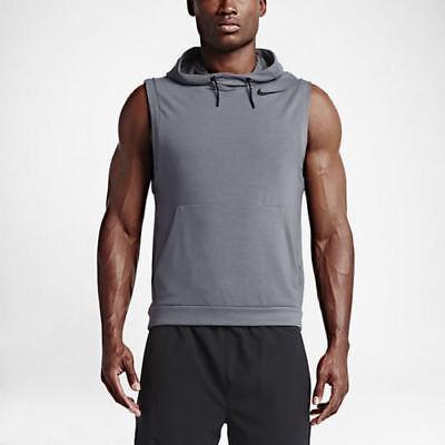 Nike Dry Sleeveless Training Hoodie Cool Grey Black New Dri-Fit XL