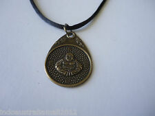 1X Bronze Plated Double Side Buddha & Kwan Yin Pendant on Black Cord(fs-p41)