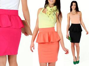 Elegant Women's Skirt With Basque Office Peplum Pencil Casual Sizes 8-14 Fa107 Kleidung & Accessoires Kleidung & Accessoires