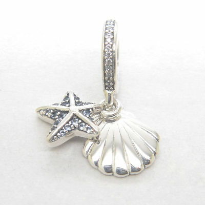 New Authentic Silver Tropical Starfish and Sea Shell Dangle Charm 792076CZF