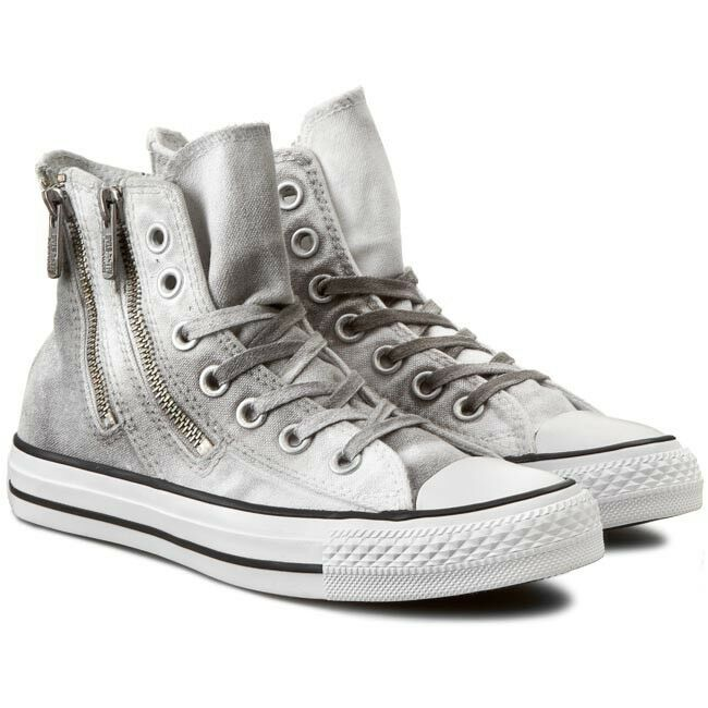 Converse HiTop Chuck Taylor AllStar DualZip Wash Grey Trainers Size UK4 New 637