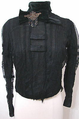 Rare Victorian Blouse NAT'L CLOAK & SUIT CO Black Net Lace US Pat Beaded Bow