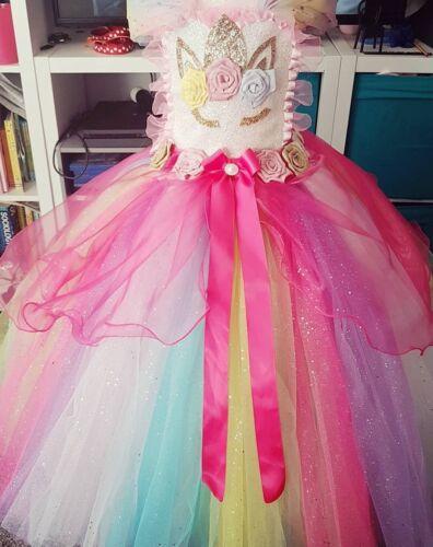 Unicorn fairytale luxury glitter knee short tutu dress birthday party princess