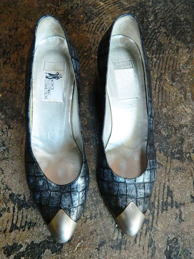 damen Vintage Alligator Print Leather Pumps Pumps Pumps Punk Steeltoe Block Silber Heels 7M 867bc7