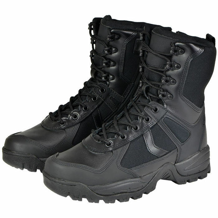 Mil-Tec 9 agujero cordón una patrulla de  Seguridad Militar Táctico botas Zip Negro  respuestas rápidas