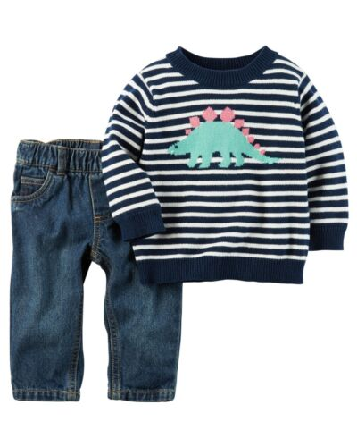 Carter/'s Infant Boys Little Sweater /& Denim Pant Set Dinosaur NWT jeans