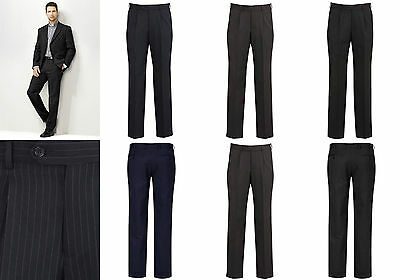 Biz Corporate Mens One Pleat Pant 70211 | Cool Stretch PINSTRIPE, Formal, Office