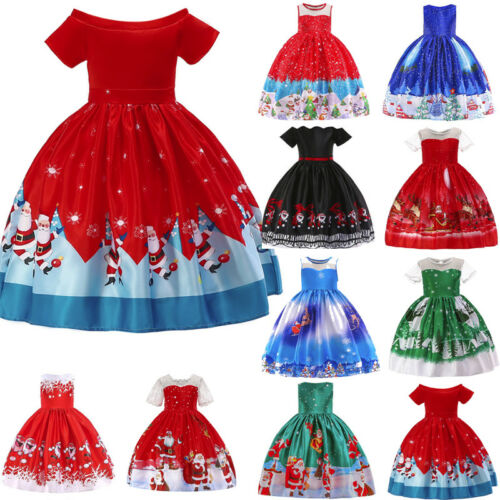 Toddler Kids Baby Girl Santa Princess Dress Christmas Smaxs Outfit Clothes 9