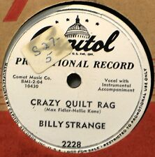 Billy Strange Crazy Quilt Rag DJ 78 NM Country Western Kiss Promo Plays Great