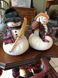 2-HOUSE-OF-HATTEN-Soft-CHRISTMAS-Snowman-Snowmen-Carrot-Nose-Vintage-MR-Mrs