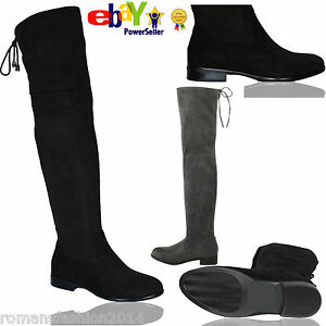 WOMENS LOW HEEL THIGH HIGH OVER THE KNEE SUEDE STRETCH RIDING BOOTS SIZE WEDGE