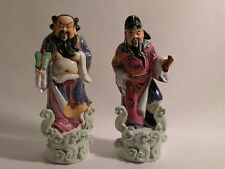 "8ma311 OLD CHINESE PAIR PORCELAIN 6"" HIGH figural STATUES, both as is"