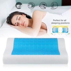 Contour Memory Foam Pillow Blue Cooling Gel Reversible Orthopedic Bed Pillow