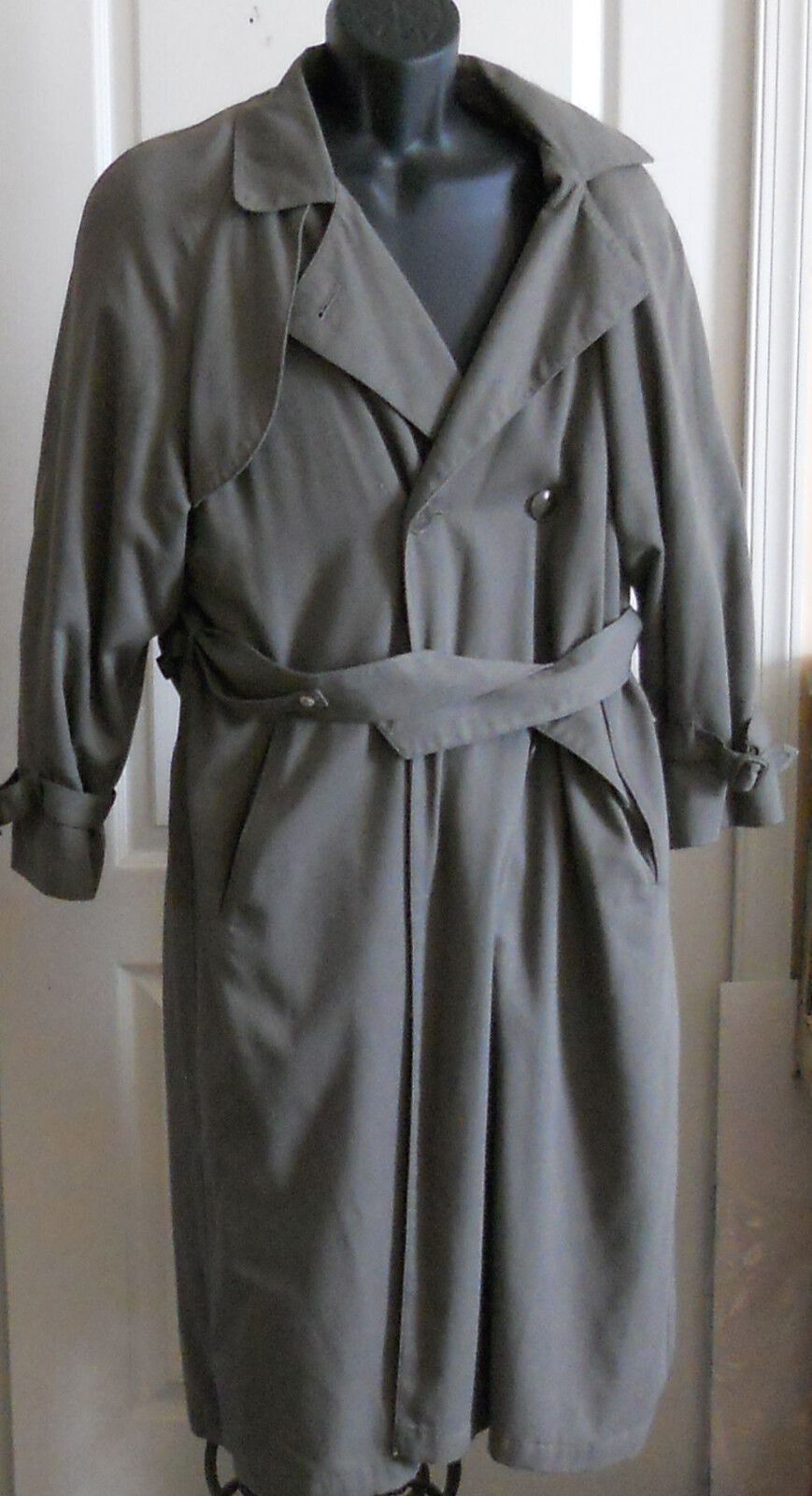 Womens London Fog Wool Blend Coat Long Dark Green Button Lining Size 6 Rg Trench