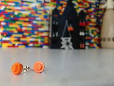 Pair Handmade MonkiStuff Orange Stud Earrings made from LEGO® Bricks Halloween