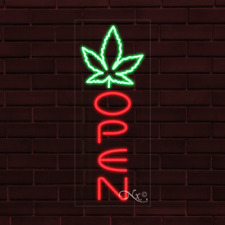 New Open Withpot Leaf Logo Vertical 32x13x1 Inch Led Flex Indoor Sign 31589