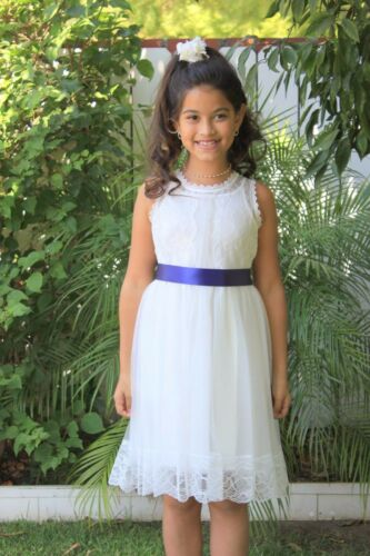 Floral Lace Overlay Cotton Ivory Flower Girl Dress Pageant Wedding Communion 169