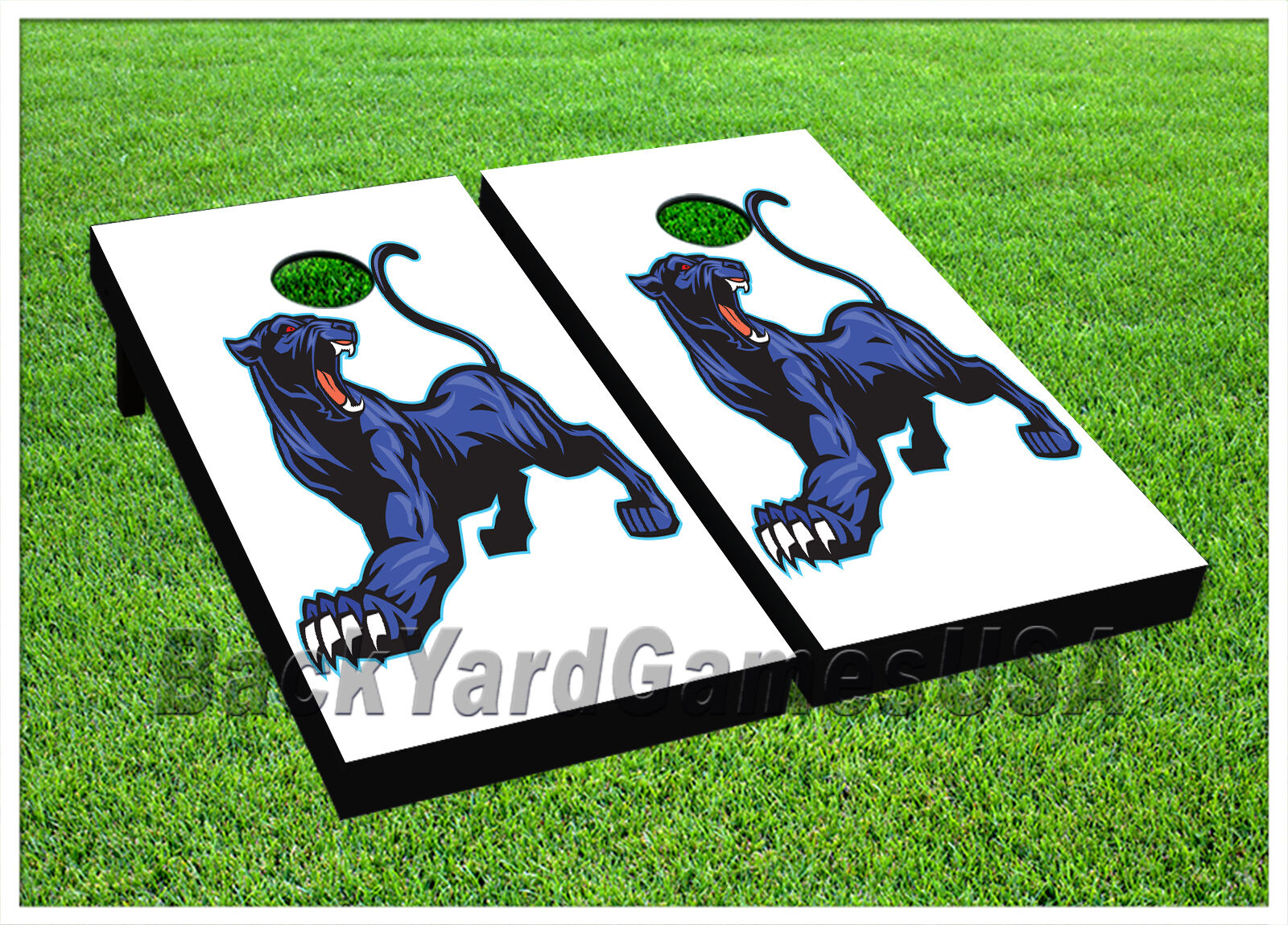 CORNHOLE BEANBAG TOSS GAME w Bags Game Boards Panther bluee  White Cat Set 942  fast shipping worldwide