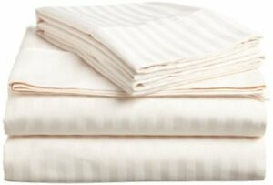 US-All-Size-Bedding-Items-100-Egyptian-Cotton-1000-Thread-Count-Ivory-Stripe