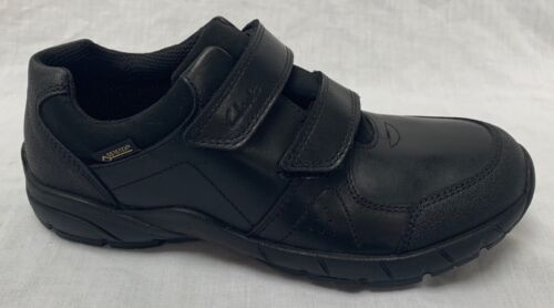 BNIB Clarks Boys Zevi Fun GTX Black Leaather Gore-Tex School Shoes F//G Fitting