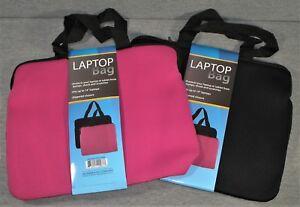 Laptop-Tablet-Netbook-Neoprene-Bag-Carrying-Case-w-Handles-14-034-Black-Pink