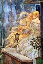 Postcard: Vintage Print Repro - Rapunzel - Fairy Tale - Long hair