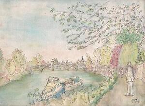 RICHMOND-BRIDGE-RIVER-THAMES-LONDON-Watercolour-Painting-1990-IMPRESSIONIST