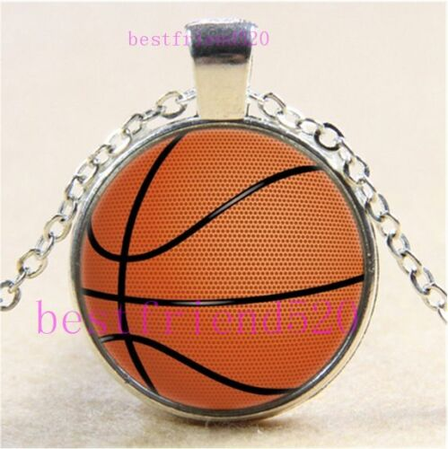 Basketball Photo cabochon verre Tibet Argent Chaîne Collier Pendentif