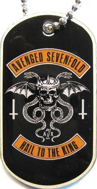 "AVENGED SEVENFOLD DOG TAG ""HAIL TO THE KING"" - NECKLACE - HUNDEMARKE - HALSKETTE"