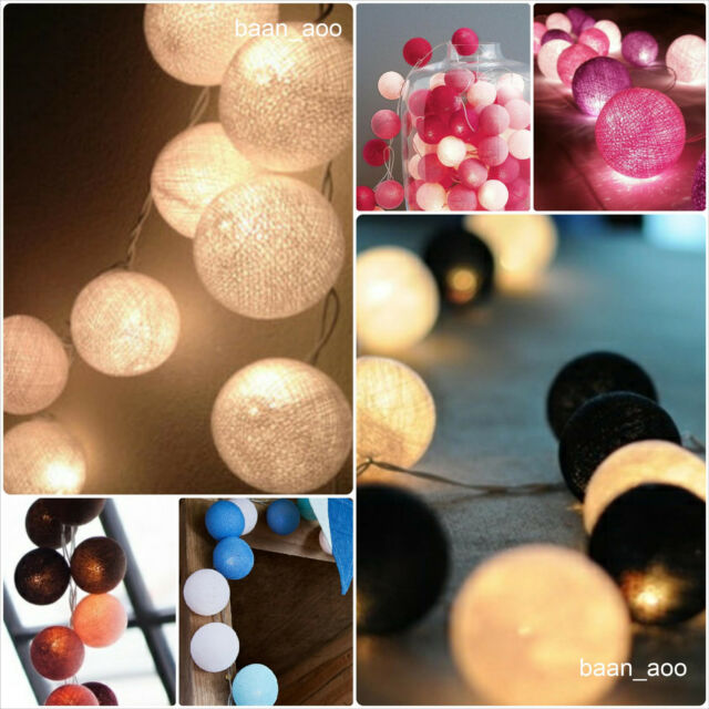 20 COTTON BALLS STRING FAIRY LIGHTS PARTY,PATIO,DECOR,CHRISTMAS,WEDDING,BEDROOM